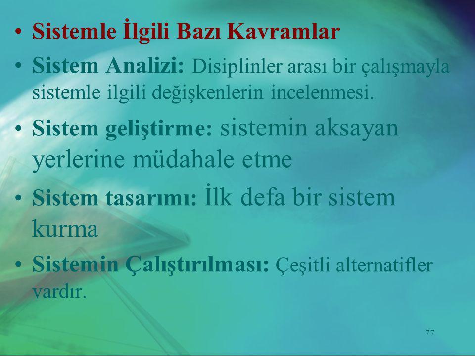 77 •Sistemle İlgili Bazı Kavramlar •Sistem Analizi: Disiplinler arası bir çalışmayla sistemle ilgili değişkenlerin incelenmesi. •Sistem geliştirme: si