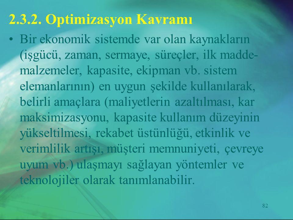 82 2.3.2. Optimizasyon Kavramı •Bir ekonomik sistemde var olan kaynakların (işgücü, zaman, sermaye, süreçler, ilk madde- malzemeler, kapasite, ekipman