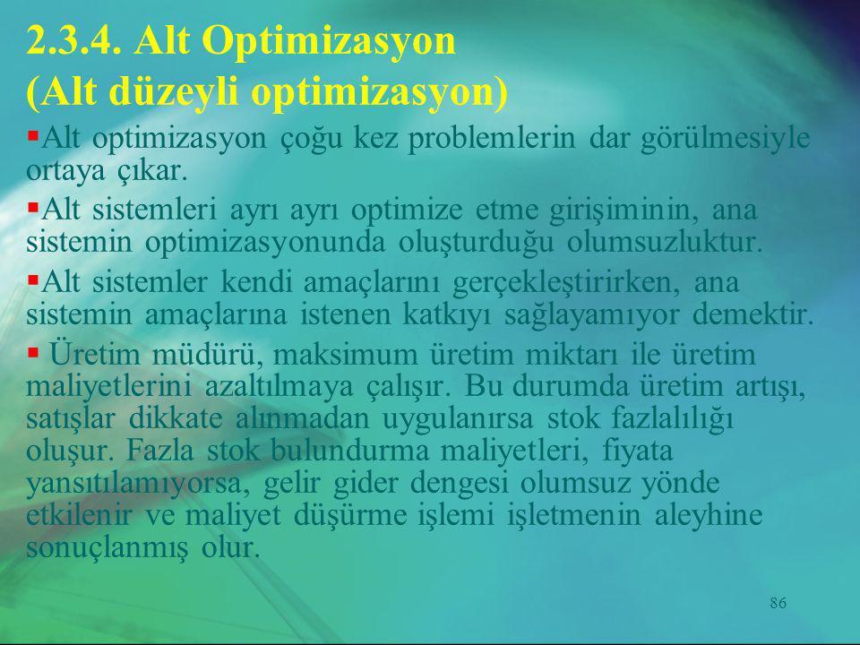 86 2.3.4. Alt Optimizasyon (Alt düzeyli optimizasyon)  Alt optimizasyon çoğu kez problemlerin dar görülmesiyle ortaya çıkar.  Alt sistemleri ayrı ay