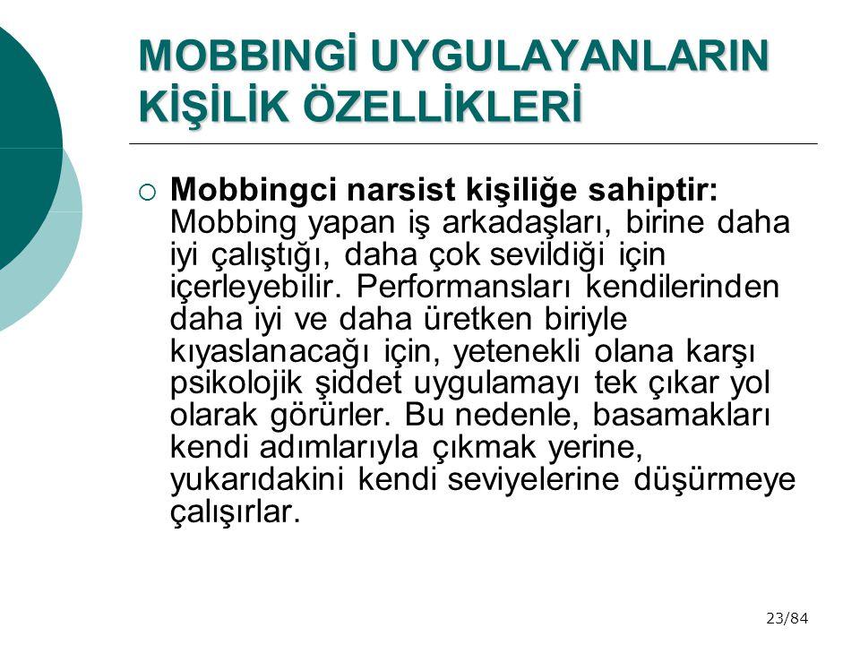 23/84 MOBBINGİ UYGULAYANLARIN KİŞİLİK ÖZELLİKLERİ  Mobbingci narsist kişiliğe sahiptir: Mobbing yapan iş arkadaşları, birine daha iyi çalıştığı, daha