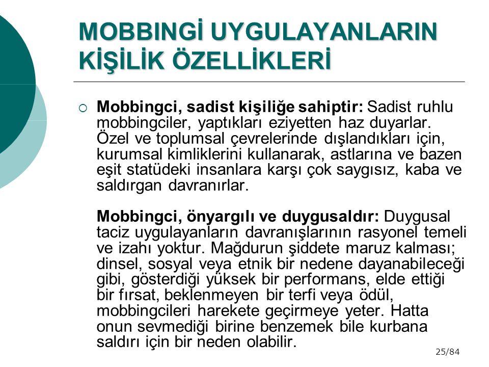 25/84 MOBBINGİ UYGULAYANLARIN KİŞİLİK ÖZELLİKLERİ  Mobbingci, sadist kişiliğe sahiptir: Sadist ruhlu mobbingciler, yaptıkları eziyetten haz duyarlar.