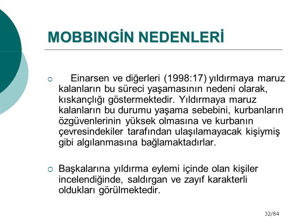 32/84 MOBBINGİN NEDENLERİ MOBBINGİN NEDENLERİ  Einarsen ve diğerleri (1998:17) yıldırmaya maruz kalanların bu süreci yaşamasının nedeni olarak, kıska