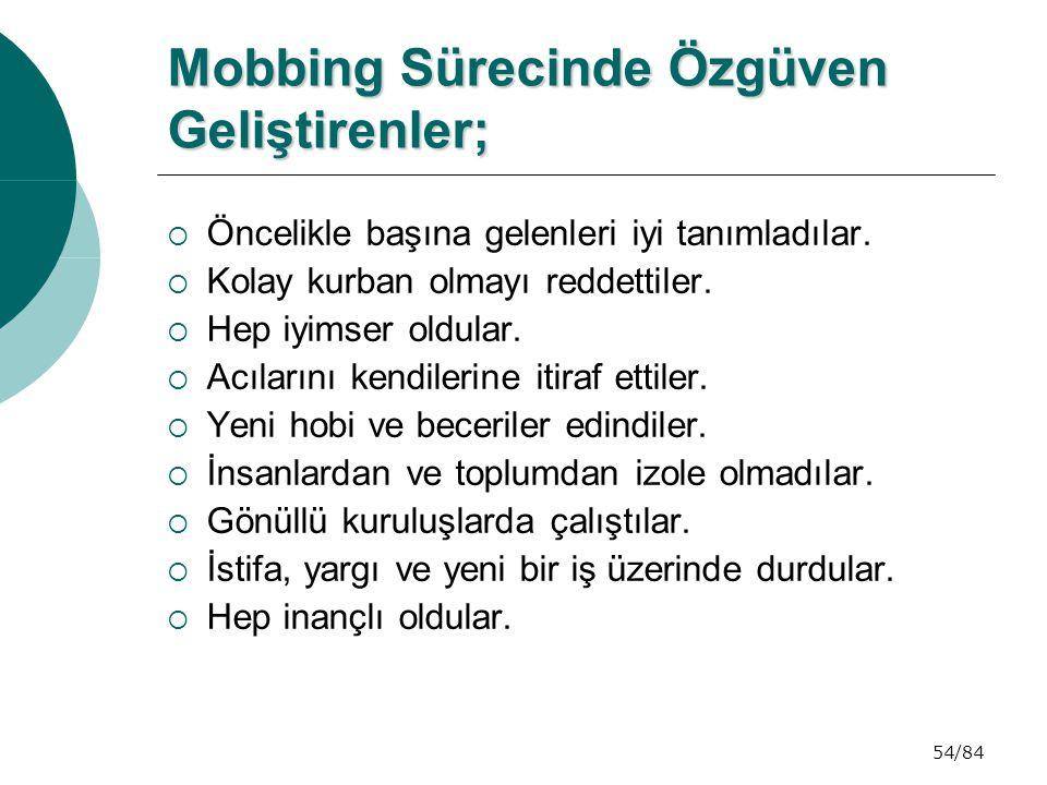 54/84 Mobbing Sürecinde Özgüven Geliştirenler; Mobbing Sürecinde Özgüven Geliştirenler;  Öncelikle başına gelenleri iyi tanımladılar.  Kolay kurban