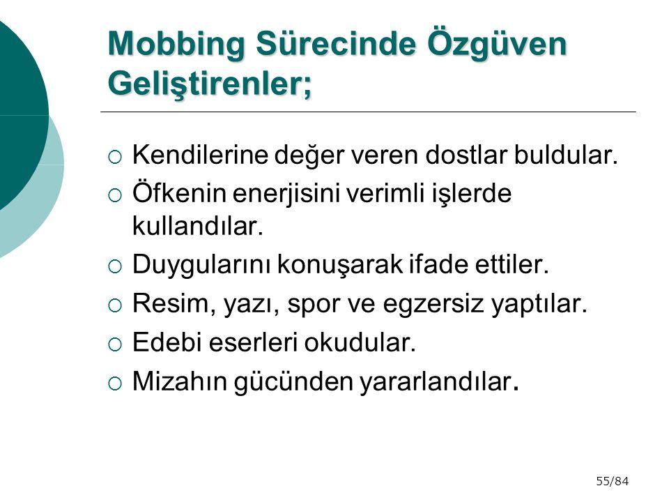 55/84 Mobbing Sürecinde Özgüven Geliştirenler; Mobbing Sürecinde Özgüven Geliştirenler;  Kendilerine değer veren dostlar buldular.  Öfkenin enerjisi