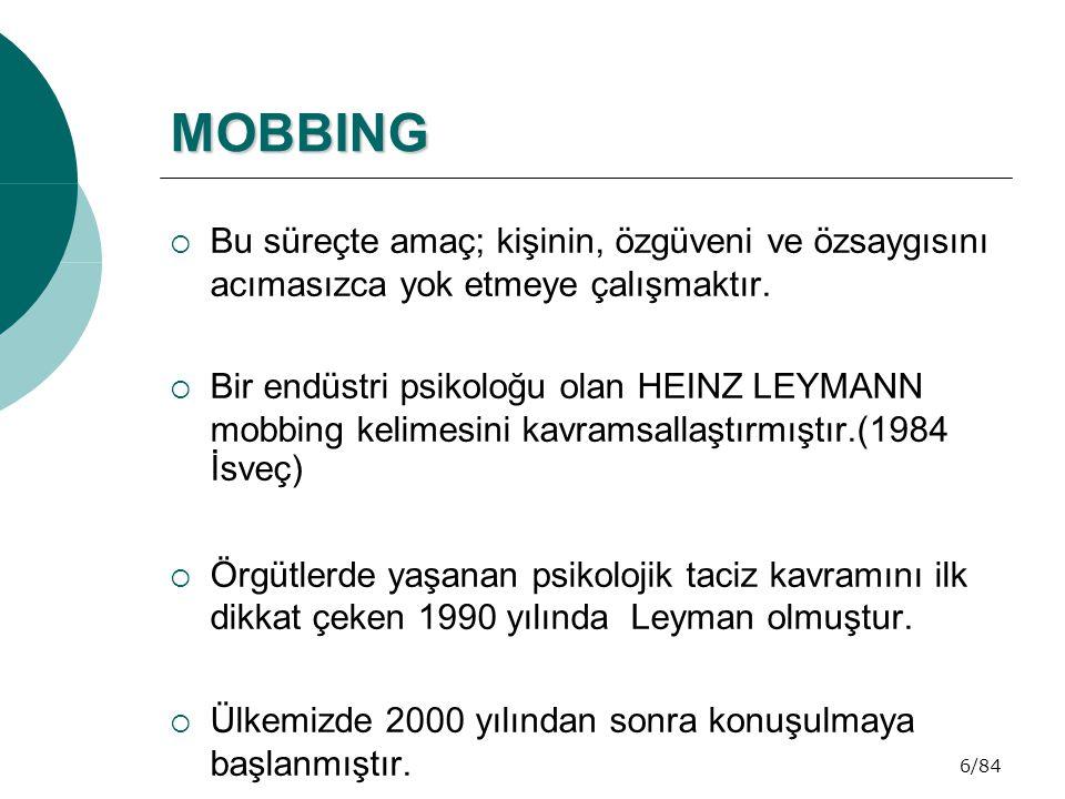 67/84 DÜNYADAN MOBBING ANKETLERİ VE ÖRNEKLER  Katılımcıların % 81 i iş hayatında mobbing ile karşılaştıklarını söylediler.