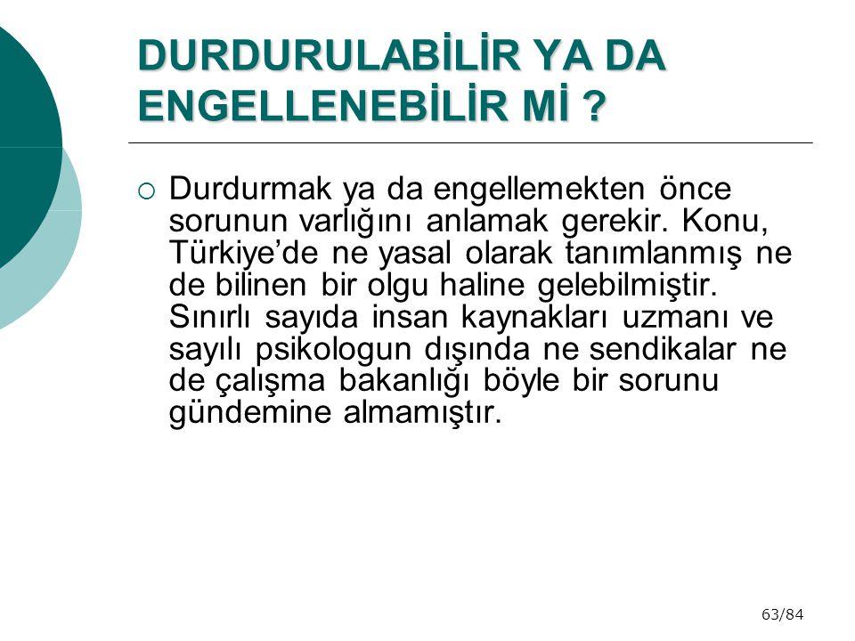 63/84 DURDURULABİLİR YA DA ENGELLENEBİLİR Mİ ?  Durdurmak ya da engellemekten önce sorunun varlığını anlamak gerekir. Konu, Türkiye'de ne yasal olara