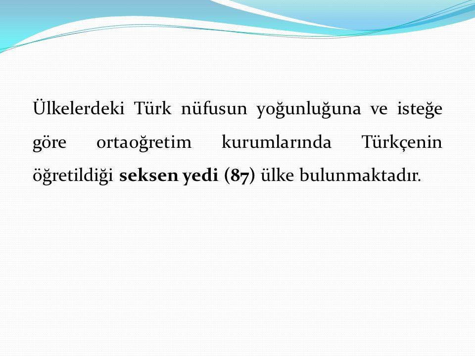 Ülkelerdeki Türk nüfusun yoğunluğuna ve isteğe göre ortaoğretim kurumlarında Türkçenin öğretildiği seksen yedi (87) ülke bulunmaktadır.