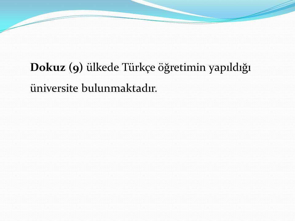 Dokuz (9) ülkede Türkçe öğretimin yapıldığı üniversite bulunmaktadır.