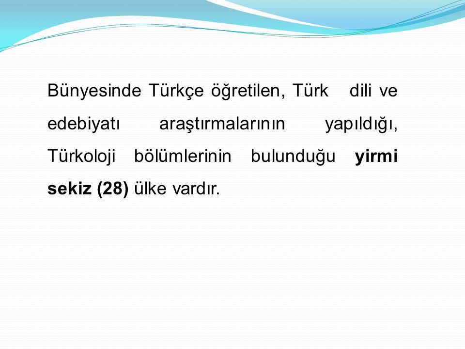 Bünyesinde Türkçe öğretilen, Türk dili ve edebiyatı araştırmalarının yapıldığı, Türkoloji bölümlerinin bulunduğu yirmi sekiz (28) ülke vardır.