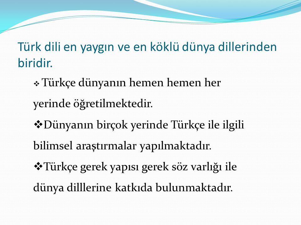  Türkçe dünyanın hemen hemen her yerinde öğretilmektedir.  Dünyanın birçok yerinde Türkçe ile ilgili bilimsel araştırmalar yapılmaktadır.  Türkçe g