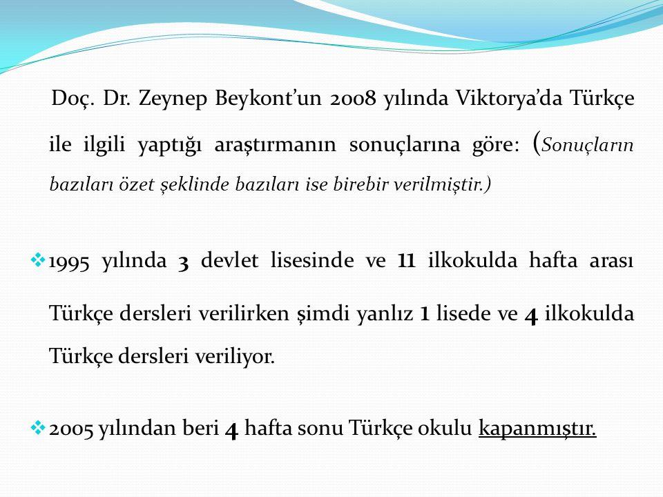 Doç. Dr. Zeynep Beykont'un 2008 yılında Viktorya'da Türkçe ile ilgili yaptığı araştırmanın sonuçlarına göre: ( Sonuçların bazıları özet şeklinde bazıl