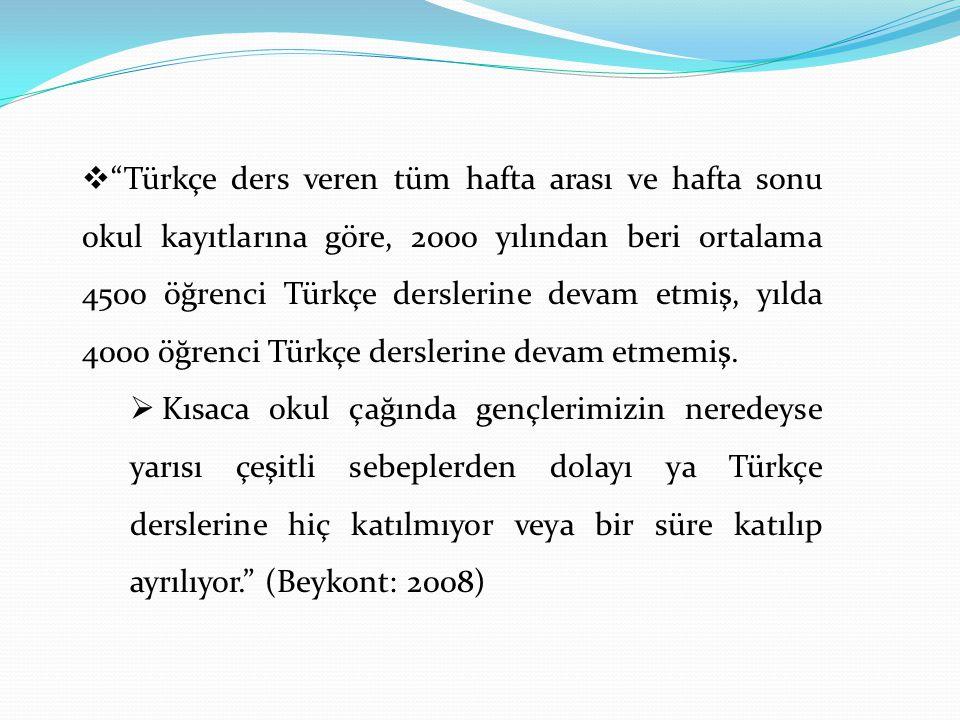 """ """"Türkçe ders veren tüm hafta arası ve hafta sonu okul kayıtlarına göre, 2000 yılından beri ortalama 4500 öğrenci Türkçe derslerine devam etmiş, yıld"""