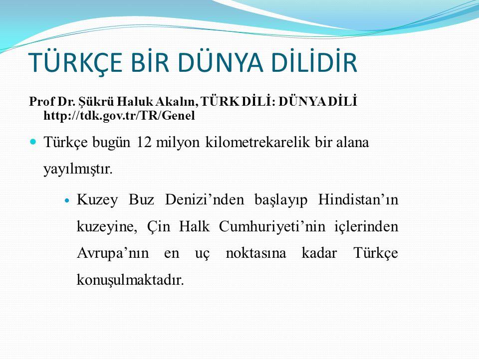 TÜRKÇE BİR DÜNYA DİLİDİR Prof Dr. Şükrü Haluk Akalın, TÜRK DİLİ: DÜNYA DİLİ http://tdk.gov.tr/TR/Genel  Türkçe bugün 12 milyon kilometrekarelik bir a