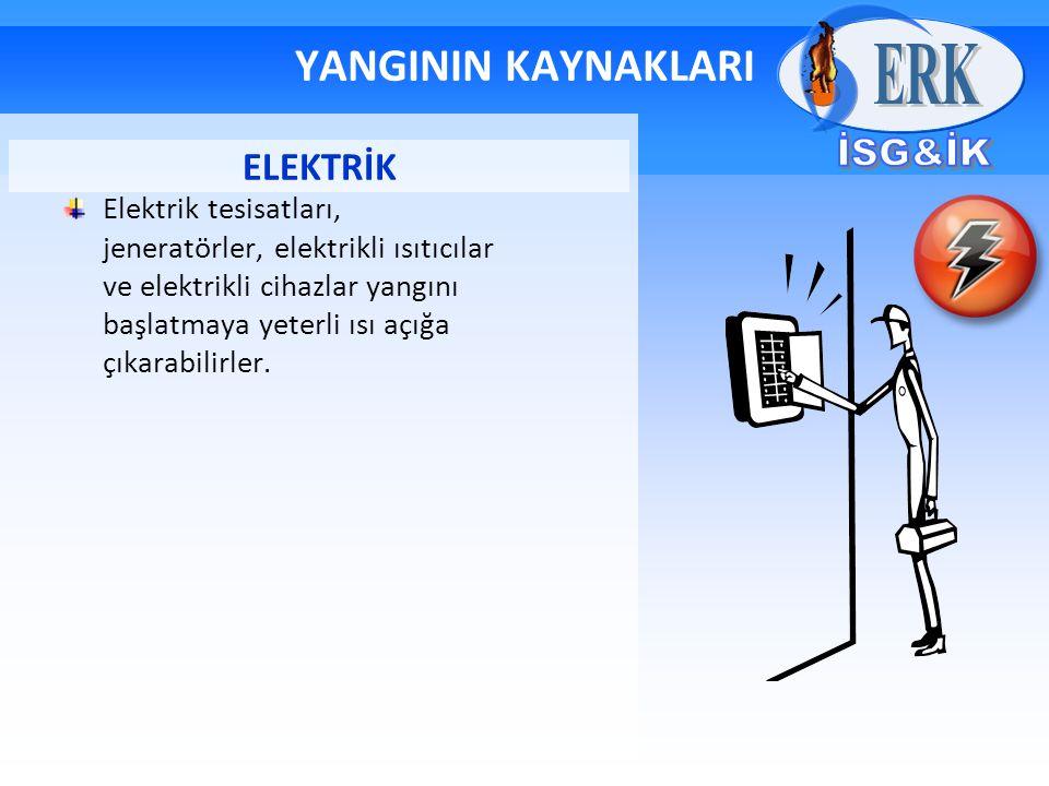 YANGININ KAYNAKLARI Elektrik tesisatları, jeneratörler, elektrikli ısıtıcılar ve elektrikli cihazlar yangını başlatmaya yeterli ısı açığa çıkarabilirl
