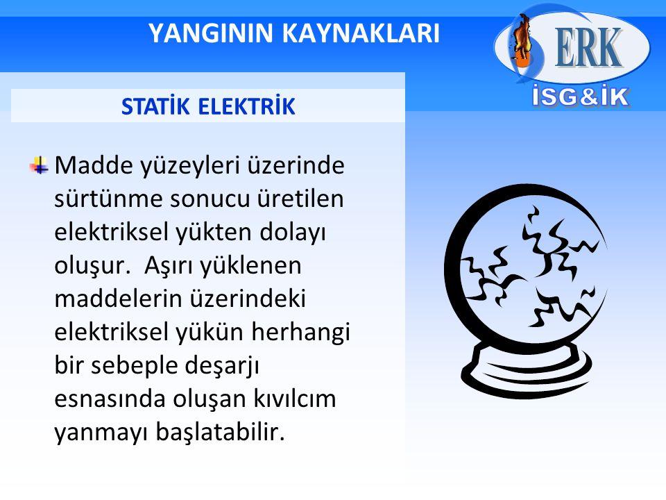 YANGININ KAYNAKLARI Madde yüzeyleri üzerinde sürtünme sonucu üretilen elektriksel yükten dolayı oluşur. Aşırı yüklenen maddelerin üzerindeki elektriks