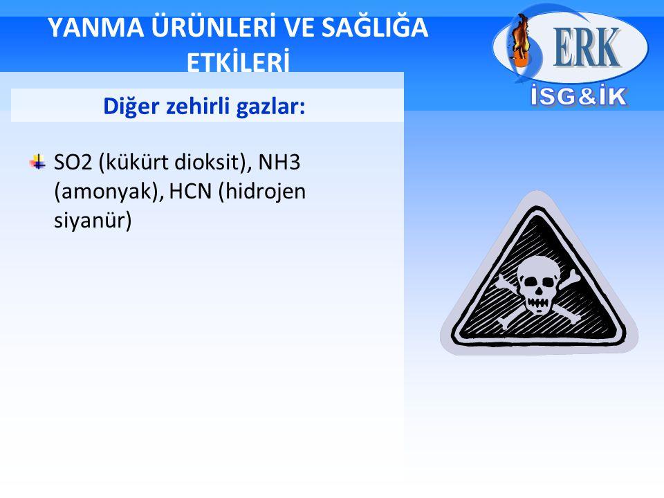 YANMA ÜRÜNLERİ VE SAĞLIĞA ETKİLERİ SO2 (kükürt dioksit), NH3 (amonyak), HCN (hidrojen siyanür) Diğer zehirli gazlar: