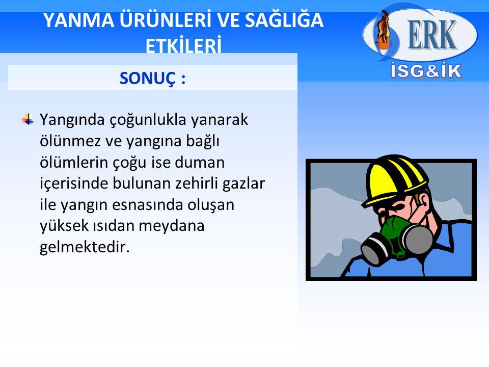 YANMA ÜRÜNLERİ VE SAĞLIĞA ETKİLERİ Yangında çoğunlukla yanarak ölünmez ve yangına bağlı ölümlerin çoğu ise duman içerisinde bulunan zehirli gazlar ile