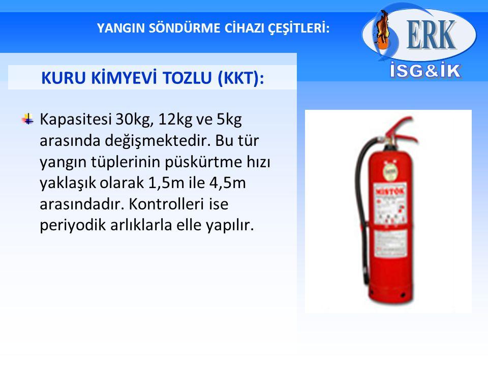 YANGIN SÖNDÜRME CİHAZI ÇEŞİTLERİ: Kapasitesi 30kg, 12kg ve 5kg arasında değişmektedir. Bu tür yangın tüplerinin püskürtme hızı yaklaşık olarak 1,5m il