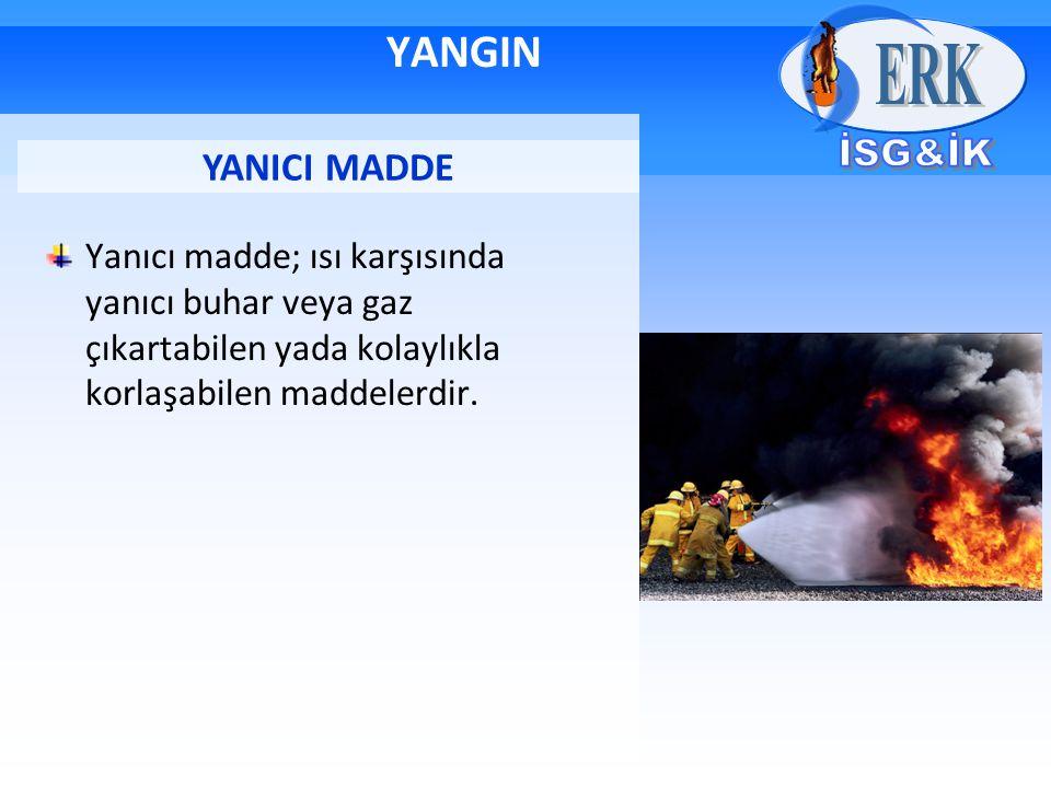 Yanıcı madde; ısı karşısında yanıcı buhar veya gaz çıkartabilen yada kolaylıkla korlaşabilen maddelerdir. YANICI MADDE