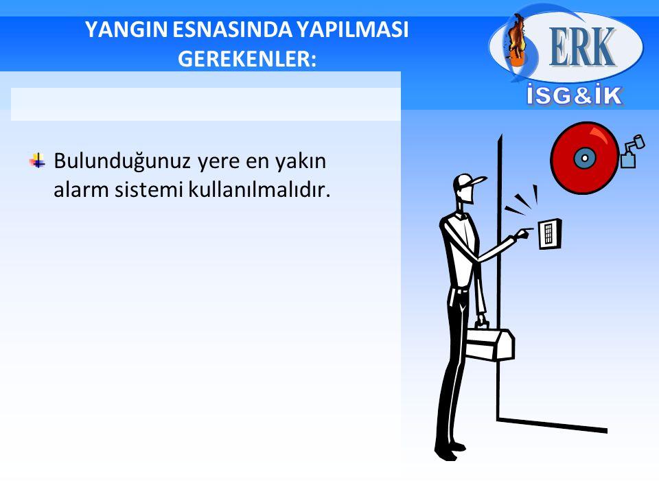 YANGIN ESNASINDA YAPILMASI GEREKENLER: Bulunduğunuz yere en yakın alarm sistemi kullanılmalıdır.
