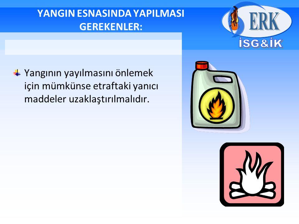 YANGIN ESNASINDA YAPILMASI GEREKENLER: Yangının yayılmasını önlemek için mümkünse etraftaki yanıcı maddeler uzaklaştırılmalıdır.