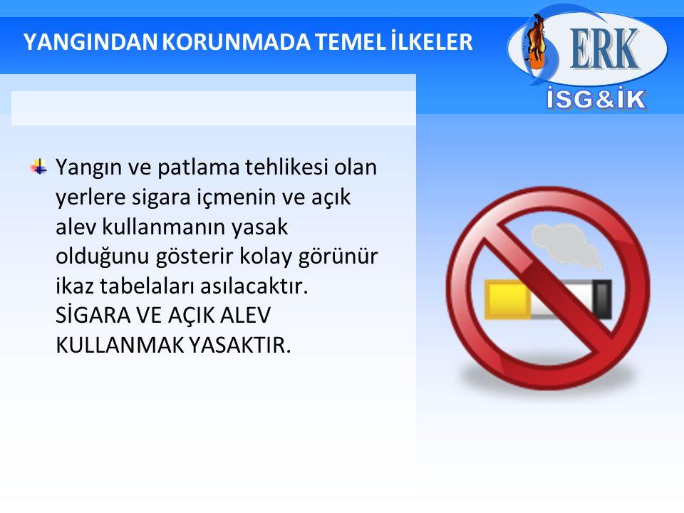 YANGINDAN KORUNMADA TEMEL İLKELER Yangın ve patlama tehlikesi olan yerlere sigara içmenin ve açık alev kullanmanın yasak olduğunu gösterir kolay görün