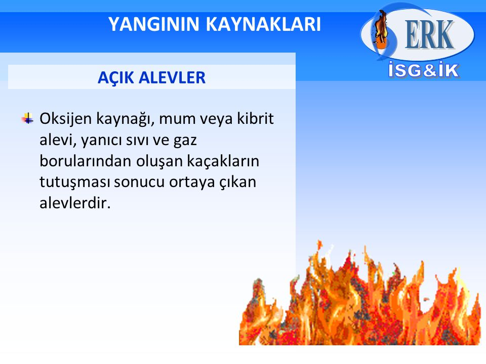YANGININ NEDENLERİ İstem dışı olayların bazılarından yangın çıkabilir.