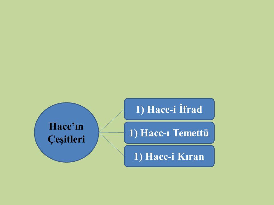 Hacc'ın Çeşitleri 1) Hacc-i İfrad 1) Hacc-ı Temettü 1) Hacc-i Kıran