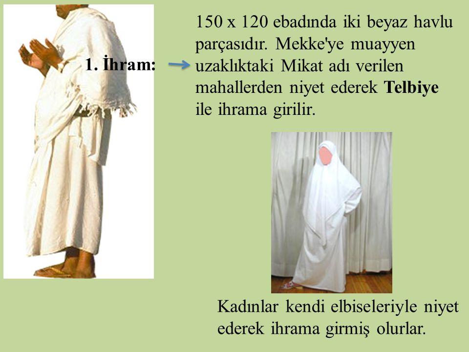 150 x 120 ebadında iki beyaz havlu parçasıdır. Mekke'ye muayyen uzaklıktaki Mikat adı verilen mahallerden niyet ederek Telbiye ile ihrama girilir. 1.