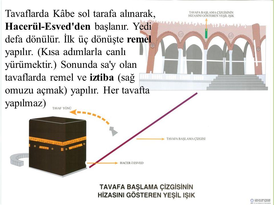 Tavaflarda Kâbe sol tarafa alınarak, Hacerül-Esved'den başlanır. Yedi defa dönülür. İlk üç dönüşte remel yapılır. (Kısa adımlarla canlı yürümektir.) S