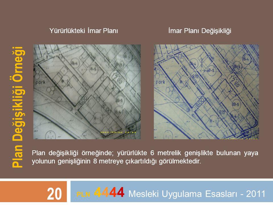 20 PLN 4444 Mesleki Uygulama Esasları - 2011 Plan Değişikliği Örneği Yürürlükteki İmar Planı İmar Planı Değişikliği Plan değişikliği örneğinde; yürürl