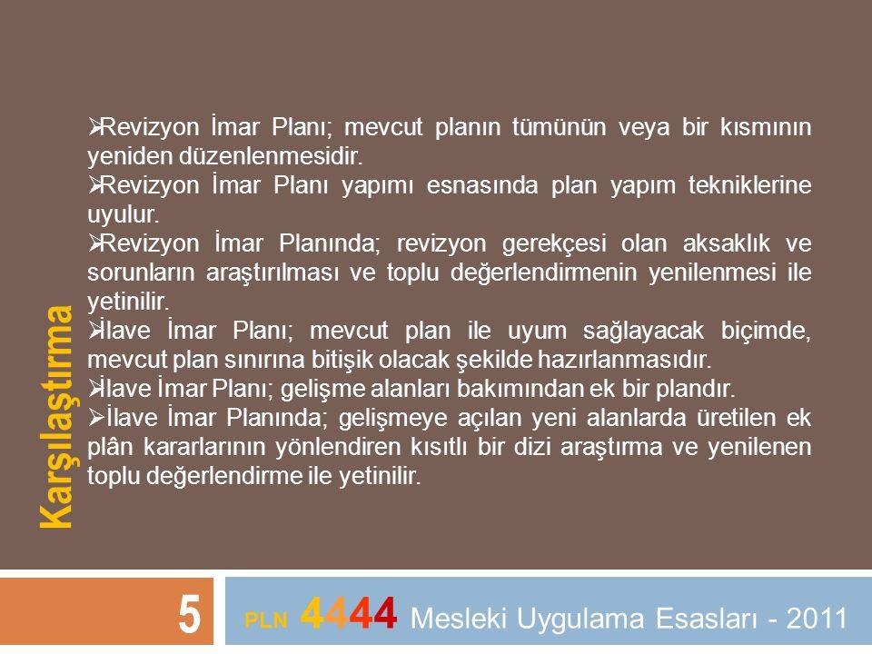 5 PLN 4444 Mesleki Uygulama Esasları - 2011  Revizyon İmar Planı; mevcut planın tümünün veya bir kısmının yeniden düzenlenmesidir.  Revizyon İmar Pl