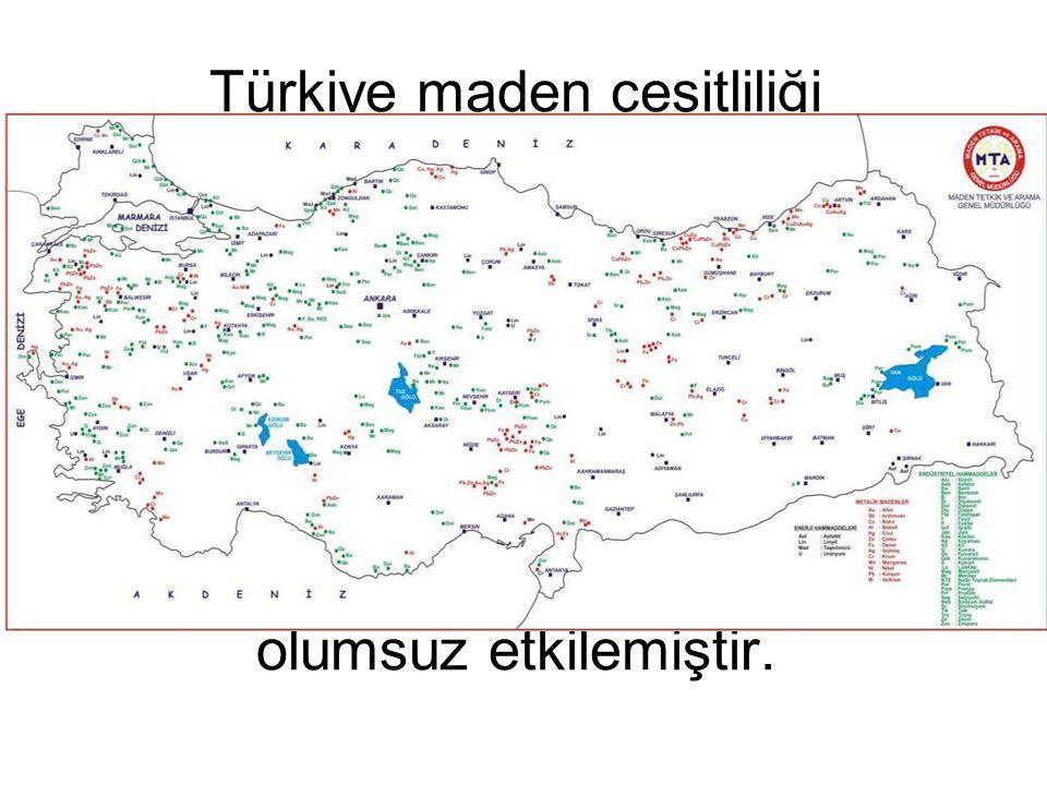 Türkiye maden çeşitliliği bakımından dünyada ilk 5 ülke arasında yer alır. Ancak maden yataklarımızın çoğu; düşük rezervli – düşük tenörlü ve küçük pa