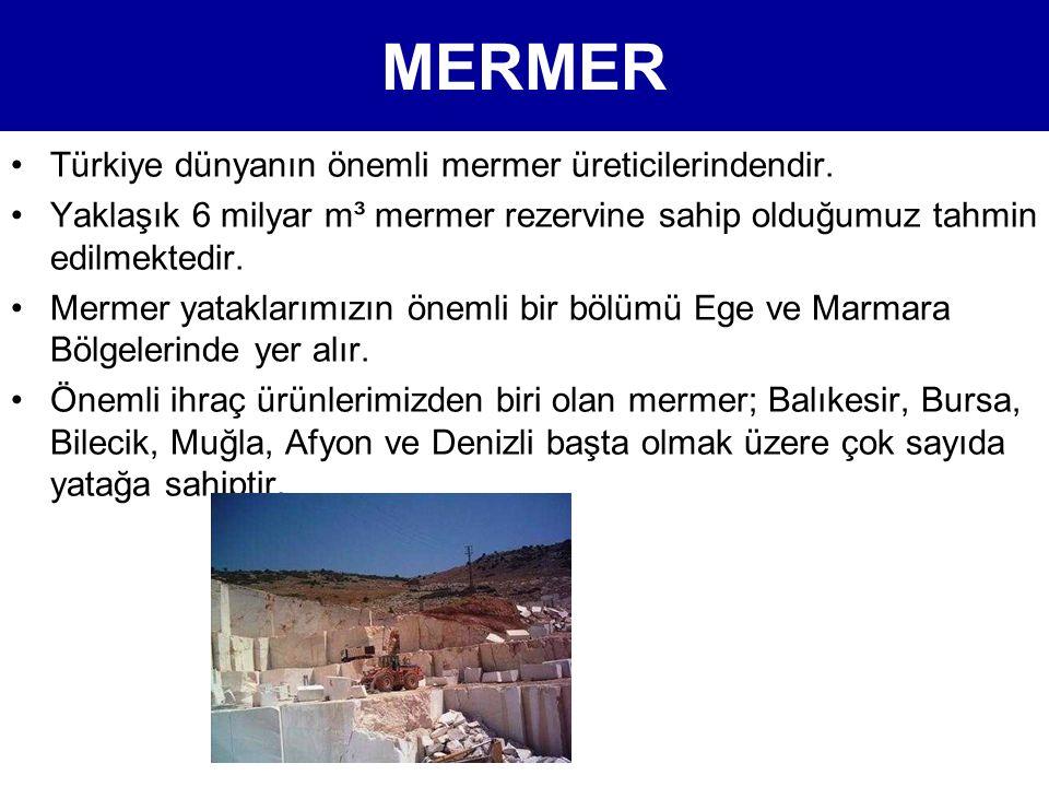 MERMER •Türkiye dünyanın önemli mermer üreticilerindendir. •Yaklaşık 6 milyar m³ mermer rezervine sahip olduğumuz tahmin edilmektedir. •Mermer yatakla