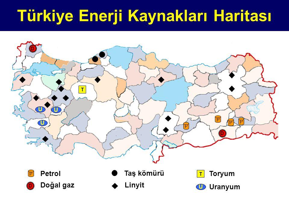 Türkiye Enerji Kaynakları Haritası P P P P T D D D Doğal gaz P Petrol Taş kömürü Linyit T Toryum U U U U Uranyum