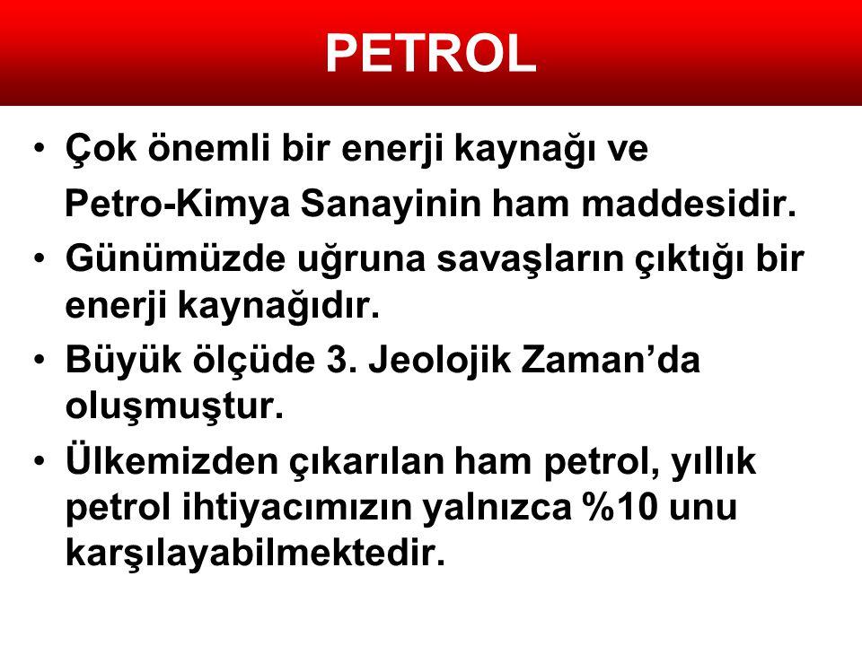 PETROL •Çok önemli bir enerji kaynağı ve Petro-Kimya Sanayinin ham maddesidir. •Günümüzde uğruna savaşların çıktığı bir enerji kaynağıdır. •Büyük ölçü