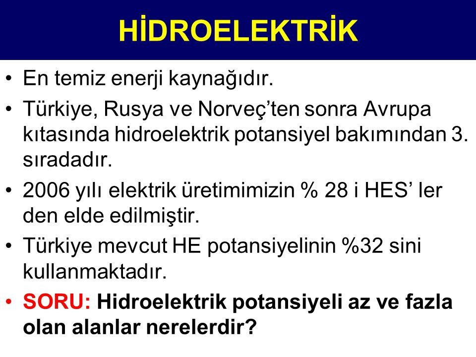 •En temiz enerji kaynağıdır. •Türkiye, Rusya ve Norveç'ten sonra Avrupa kıtasında hidroelektrik potansiyel bakımından 3. sıradadır. •2006 yılı elektri