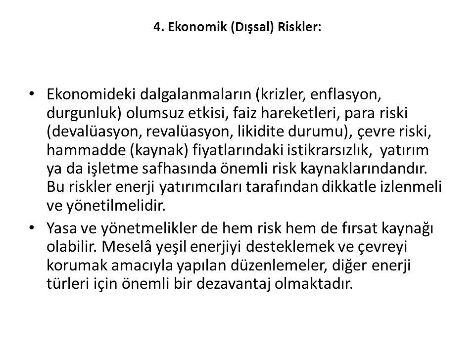 4. Ekonomik (Dışsal) Riskler: • Ekonomideki dalgalanmaların (krizler, enflasyon, durgunluk) olumsuz etkisi, faiz hareketleri, para riski (devalüasyon,