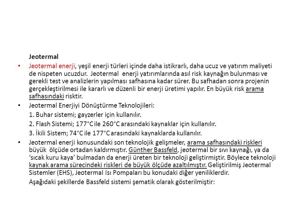 Jeotermal • Jeotermal enerji, yeşil enerji türleri içinde daha istikrarlı, daha ucuz ve yatırım maliyeti de nispeten ucuzdur. Jeotermal enerji yatırım