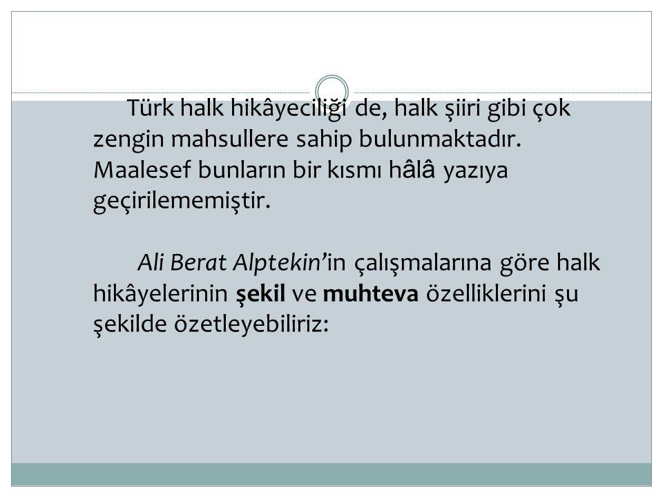 Türk halk hikâyeciliği de, halk şiiri gibi çok zengin mahsullere sahip bulunmaktadır. Maalesef bunların bir kısmı h â l â yazıya geçirilememiştir. Ali
