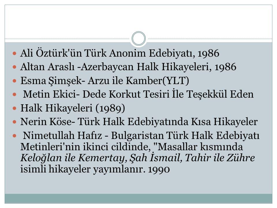  Ali Öztürk'ün Türk Anonim Edebiyatı, 1986  Altan Araslı -Azerbaycan Halk Hikayeleri, 1986  Esma Şimşek- Arzu ile Kamber(YLT)  Metin Ekici- Dede K