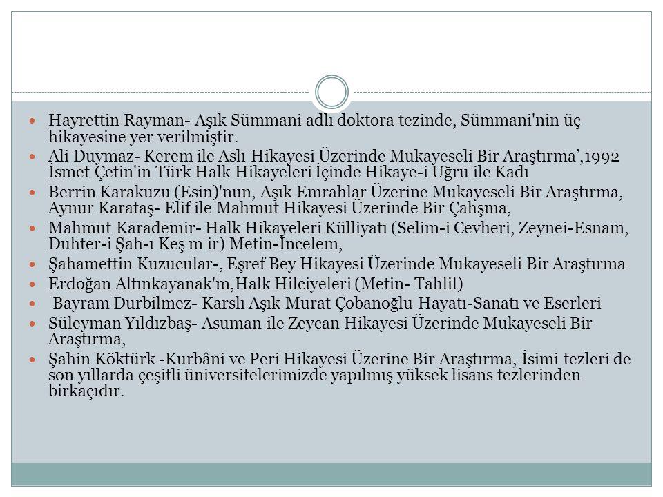  Hayrettin Rayman- Aşık Sümmani adlı doktora tezinde, Sümmani'nin üç hikayesine yer verilmiştir.  Ali Duymaz- Kerem ile Aslı Hikayesi Üzerinde Mukay
