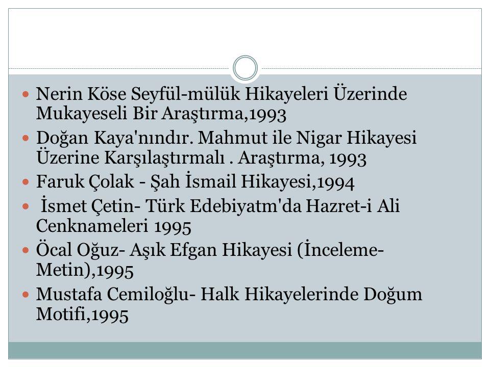  Nerin Köse Seyfül-mülük Hikayeleri Üzerinde Mukayeseli Bir Araştırma,1993  Doğan Kaya'nındır. Mahmut ile Nigar Hikayesi Üzerine Karşılaştırmalı. Ar
