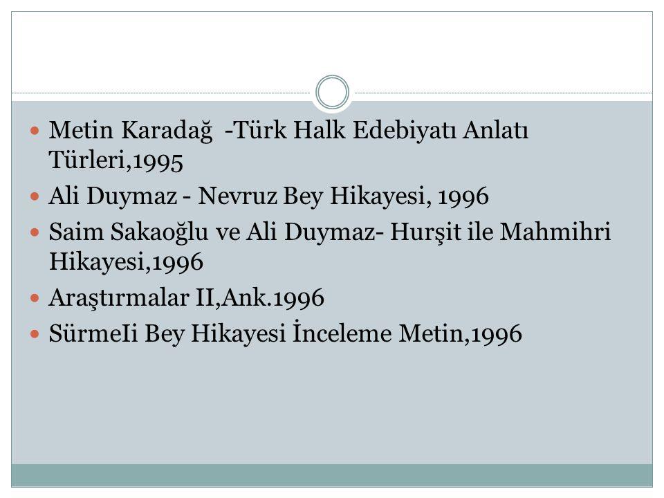  Metin Karadağ -Türk Halk Edebiyatı Anlatı Türleri,1995  Ali Duymaz - Nevruz Bey Hikayesi, 1996  Saim Sakaoğlu ve Ali Duymaz- Hurşit ile Mahmihri H