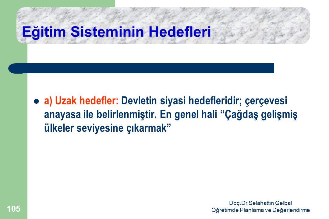 Doç.Dr.Selahattin Gelbal Öğretimde Planlama ve Değerlendirme 105 Eğitim Sisteminin Hedefleri  a) Uzak hedefler: Devletin siyasi hedefleridir; çerçevesi anayasa ile belirlenmiştir.