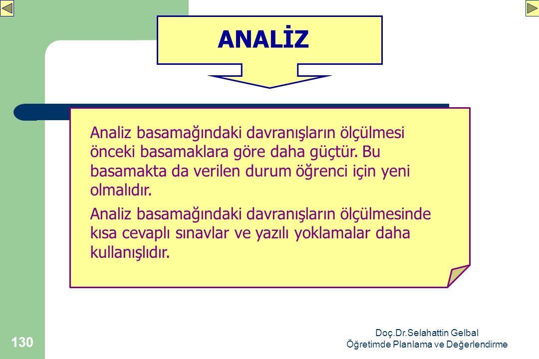 Doç.Dr.Selahattin Gelbal Öğretimde Planlama ve Değerlendirme 130 ANALİZ Analiz basamağındaki davranışların ölçülmesi önceki basamaklara göre daha güçtür.