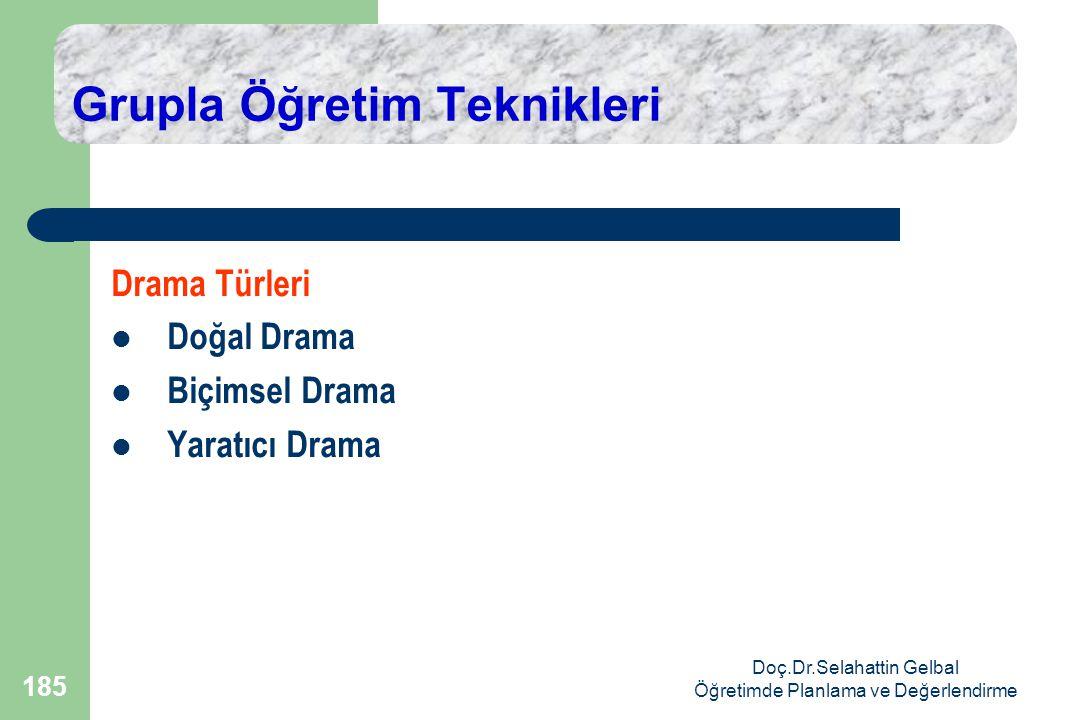 Doç.Dr.Selahattin Gelbal Öğretimde Planlama ve Değerlendirme 185 Grupla Öğretim Teknikleri Drama Türleri  Doğal Drama  Biçimsel Drama  Yaratıcı Drama