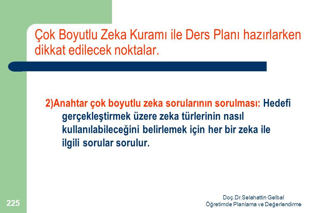 Doç.Dr.Selahattin Gelbal Öğretimde Planlama ve Değerlendirme 225 Çok Boyutlu Zeka Kuramı ile Ders Planı hazırlarken dikkat edilecek noktalar.
