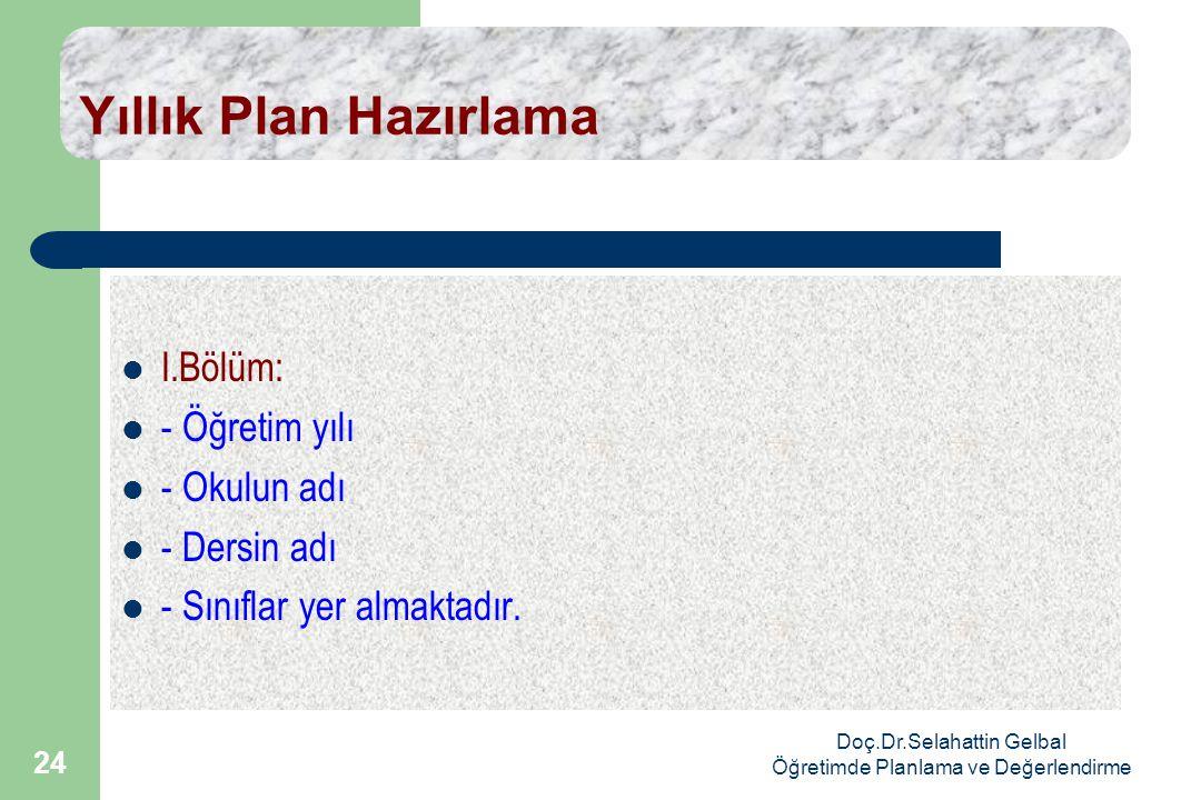 Doç.Dr.Selahattin Gelbal Öğretimde Planlama ve Değerlendirme 24 Yıllık Plan Hazırlama  I.Bölüm:  - Öğretim yılı  - Okulun adı  - Dersin adı  - Sınıflar yer almaktadır.