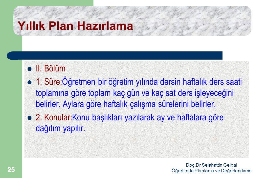 Doç.Dr.Selahattin Gelbal Öğretimde Planlama ve Değerlendirme 25 Yıllık Plan Hazırlama  II.